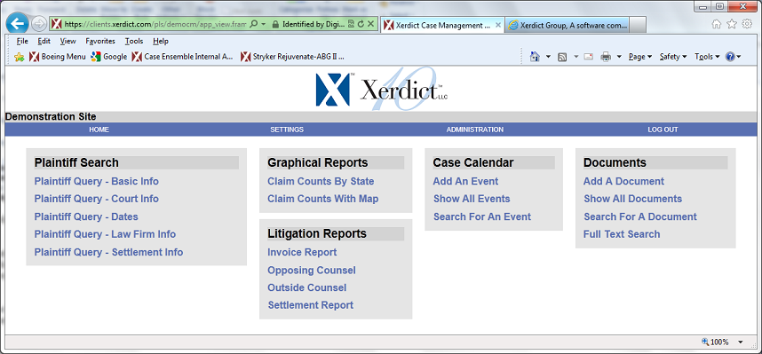 Xerdict Group, provider of legal extranets, collaboration systems, deal rooms, legal extranets, client workspaces and e-discovery portal software to assist corporate law departments, law firms, attorneys and litigation support technology experts.